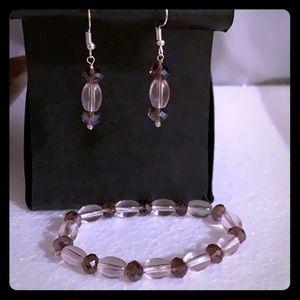 NWT HandBeaded crystal stretchy bracelet & earring
